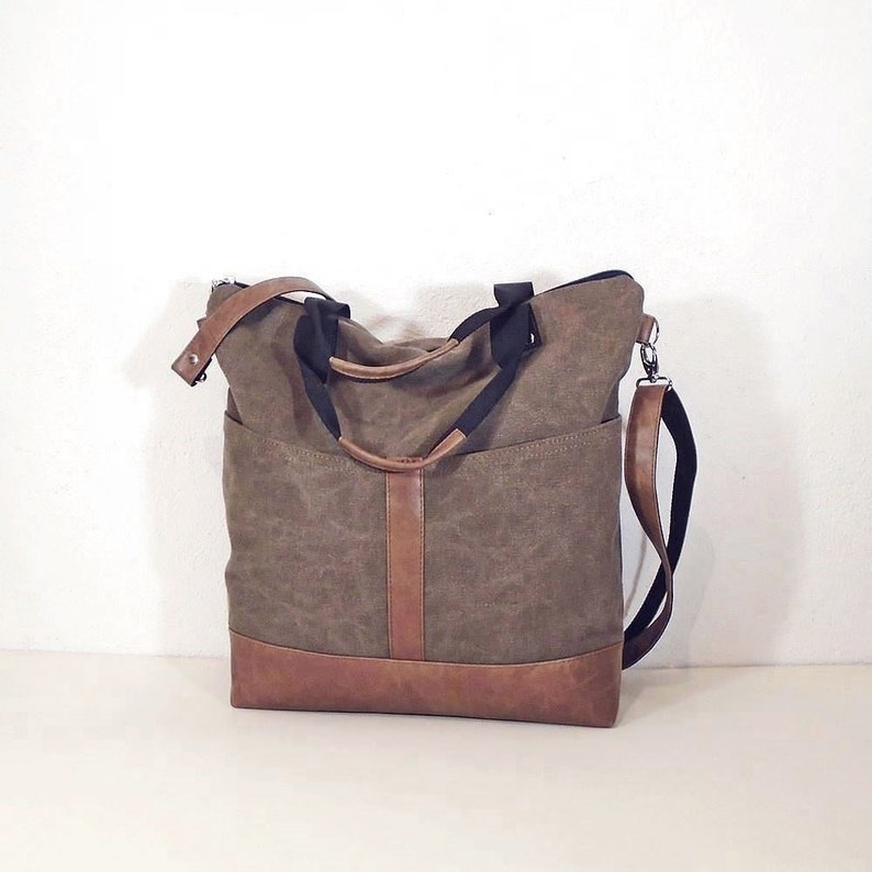Waxed canvas shoulder bag brown black gray crossbody purse  f94bc5ba01fa0