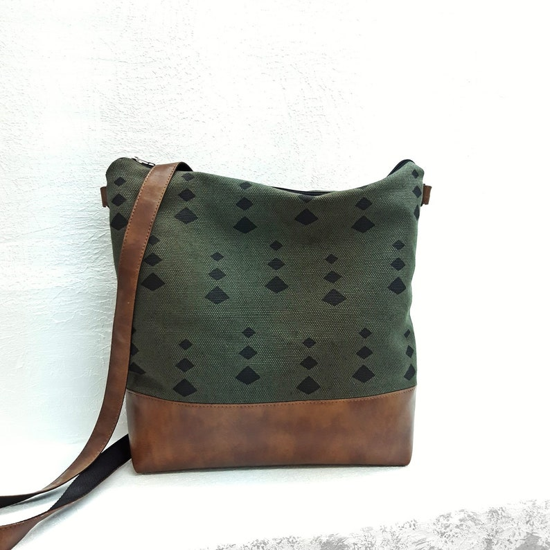 a92ab599c Canvas crossbody purse Large Medium green hobo bag Jute bag   Etsy