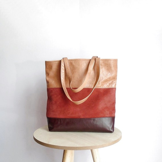 Leather tote bag dark burgundy