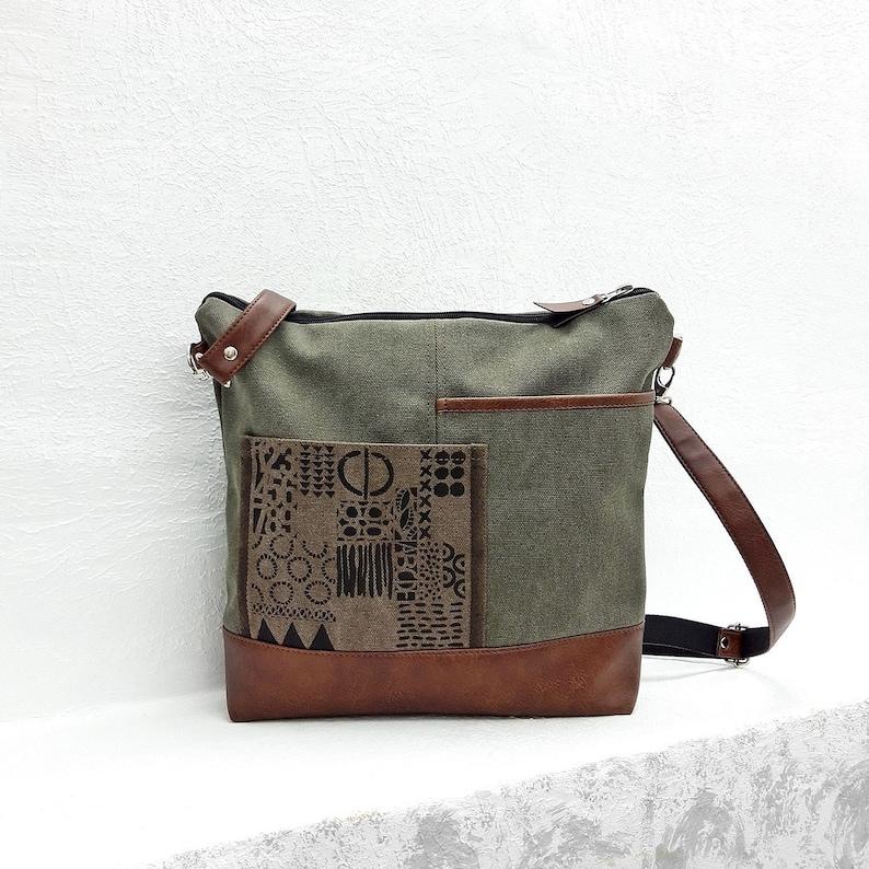 c93f9a0e5383d5 Green shoulder bag waxed canvas crossbody purse zipper vegan | Etsy
