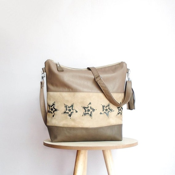 Leather crossbody bag stars