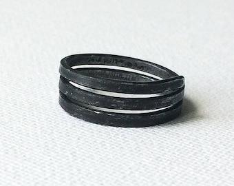 Minimal Iron Ring, Simple Black Ring, Plain Handmade Ring, Dark Grey Ring, Metal Rustic Ring, Raw Wire Ring, Unisex Steel Band, Women Band