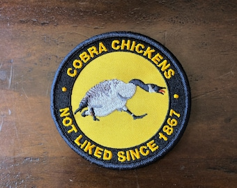 Embroidered patch with hook type backing: Cobra chickens