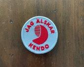 "Embroidered Morale Parody Patch: Jag älskar kendo (""I love kendo"" in Swedish)"