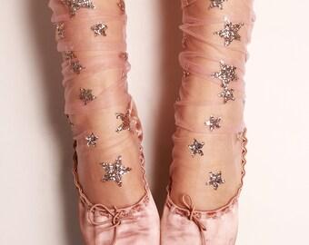 Glitter and Stars Tulle Socks