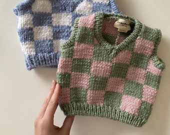 Checkered Knit Vest For Pets