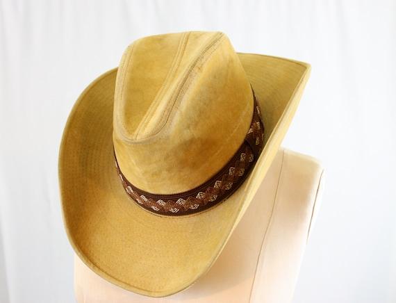 Velvet cowboy hat   vintage YA cowboy hat   beige