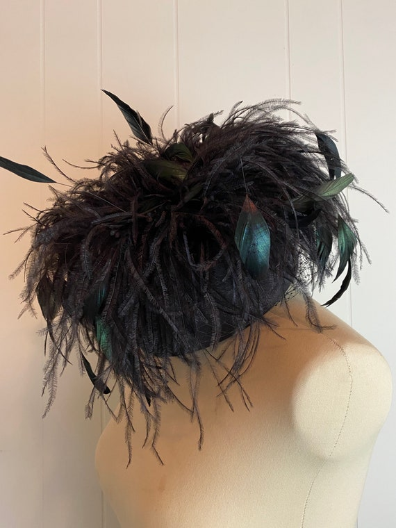 Black Feather Hat | Vintage Feather Hat with vail