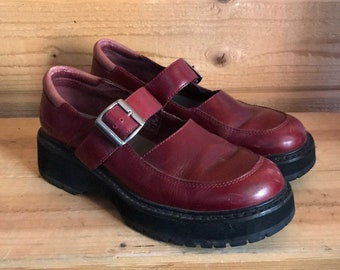 Red leather Mary Janes | vintage Mary Janes | 1990s platform Mary Janes