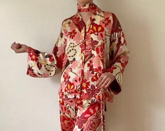 Cherry Blossom Neiman Marcus 100% Silk Pajama Set d352f7cd4