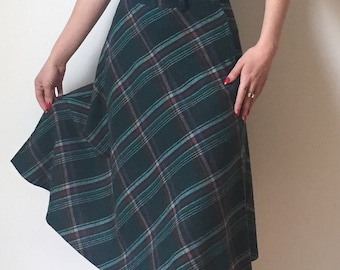 1970's Plaid School Girl Skirt