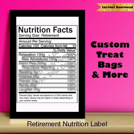 retirement nutrition facts label for custom chip treat bags etsy