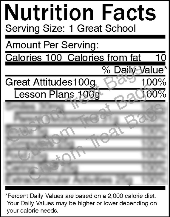 School Nutrition Facts Label: For Custom Chip /Treat Bags /Candy Bar  Wrapper /Water Bottles /Treat Bags /Party Printables