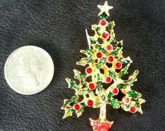 Christmas tree brooch, vintage holiday brooch, red and clear rhinestones