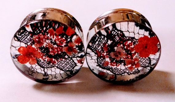 single flare or double flare sold in pairs Bright RED Real Dried FLOWER Girly PLUGS Gauges 0g 10mm and 00g 8mm
