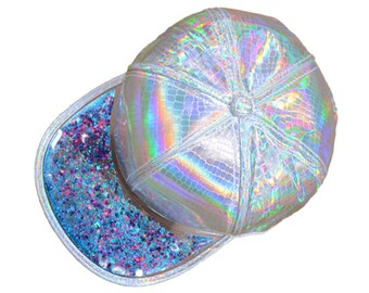 6d360eb5589d8 Souvenir Hat - Glitter Hat Snakeskin Holographic Fitted w Glitter Bomb brim  - floating sparkle   liquid glitter   multicolor available