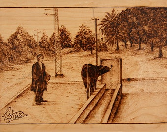 "Pyrography on wood ""Farmer"""