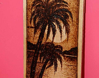 "Pyrography on wood ""Palm"""