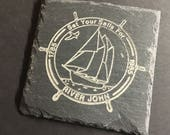 River John Bicentennial Postal Stamp Slate Coaster Set