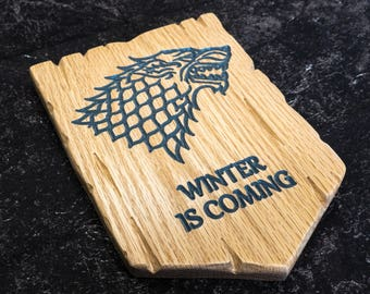 Game of Thrones House Stark Carved Plaque