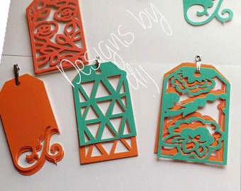Set of 4 Decorative Handmade Tags, Geometrical Tags, One Of A Kind Designs, Gift Tags, All Occasions, For Special Gifts, Special Gift Tags