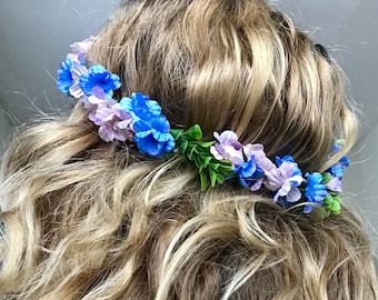 Lavender and Blue Boho Flower Crown