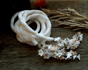 """Bead Crochet Necklace """"White flowers"""" - Beaded necklace, Beaded rope, Beaded crochet, Handmade jewelry, Beadwork jewelry, Gift for her"""