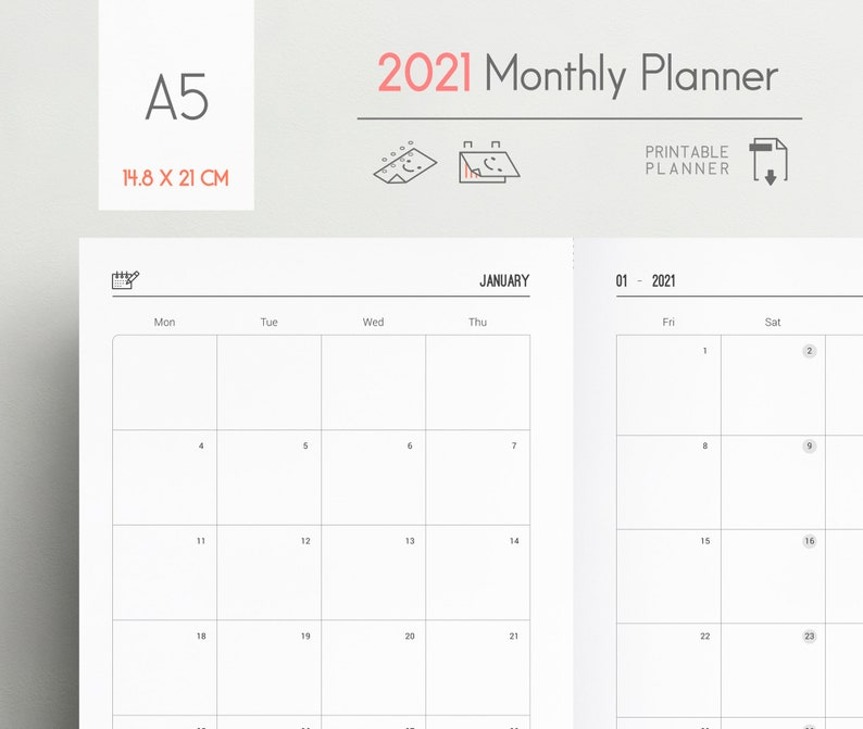 2021 Monthly Planner A5 Size Month on 2 pages Monday Start ...