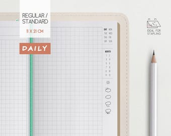Daily Traveler's Notebook Insert- Graph grid page - Midori Regular Refill - Day on 2 pages