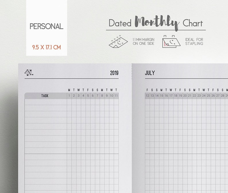 Dated Monthly Chart 2019 Planner Insert - January to December - Task and  Habit Tracker - Personal size Planner - Month on 2 pages