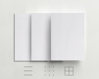 Line, Grid, Dot Insert - A5 and Half Letter Inserts - Bullet Journal - Paper Refill for A5 planners- Traveler's Notebook Inserts