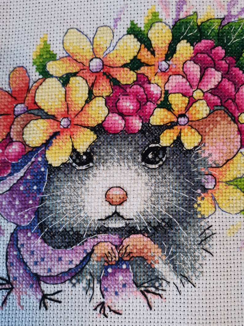 Mouse Embroidered painting mouse cross stitch mouse lover gift flower cross stitch cute mouse counted mouse flowers cross stitch new year