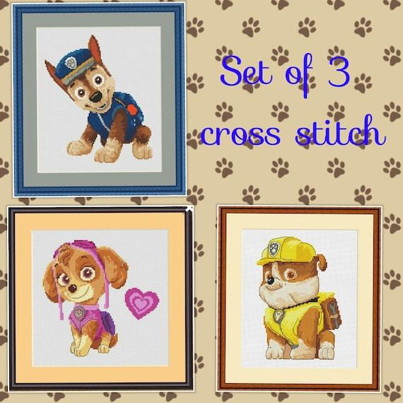 Dogs Set Of 3 Cross Stitch Dog Pattern Design Disney Etsy