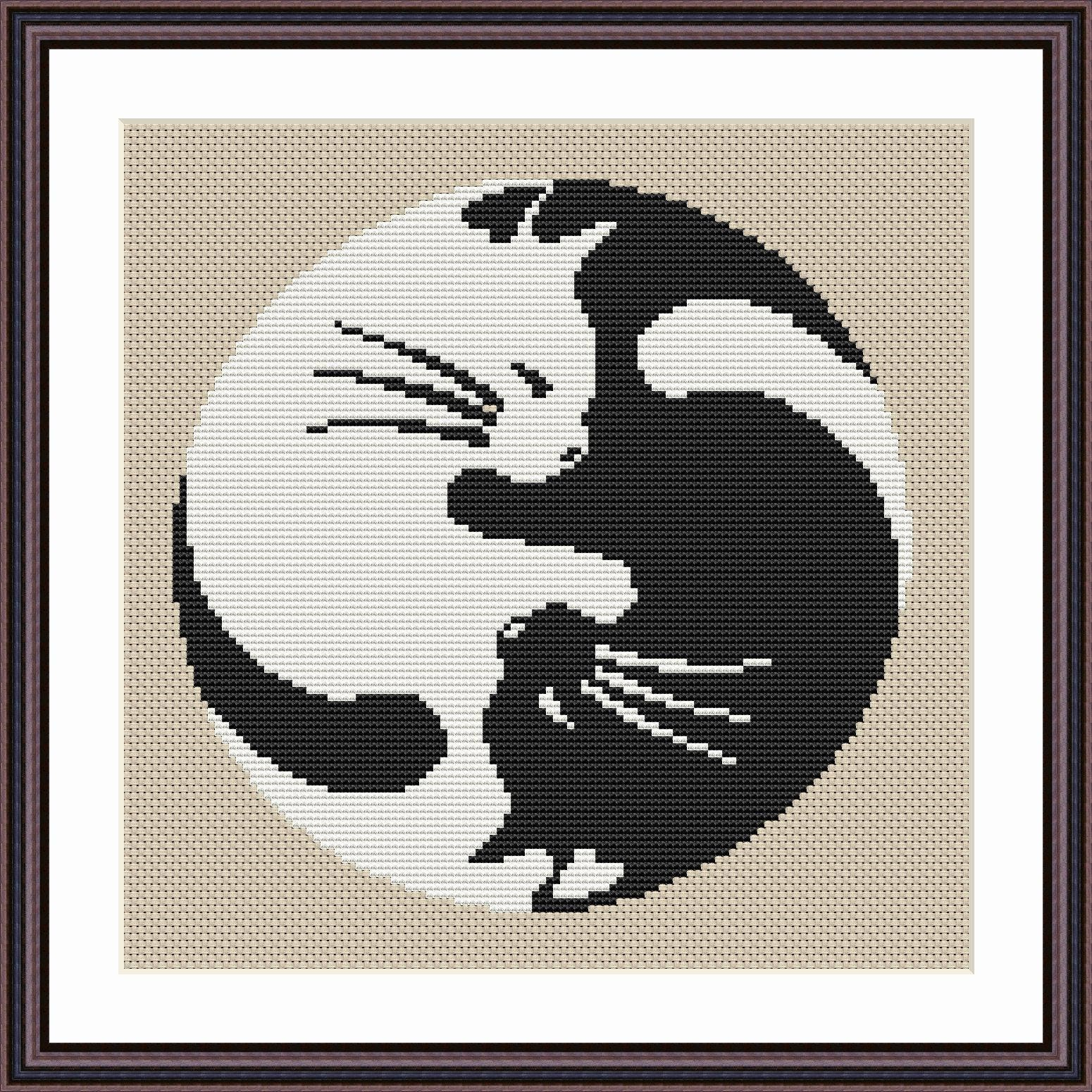 Yin Yang Cat Cross Stitch Pattern Yin Yang Cat Design Yin Yang Etsy