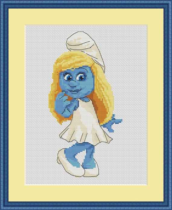 Smurfs cross stitch pattern Design Disney embroidery disney | Etsy