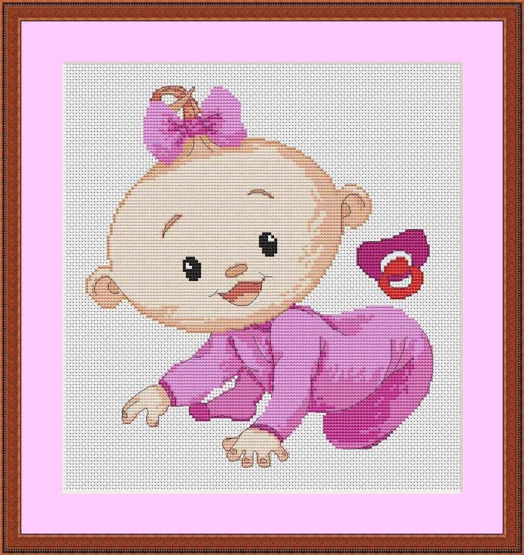 Картинки вышивка крестиком новорожденных
