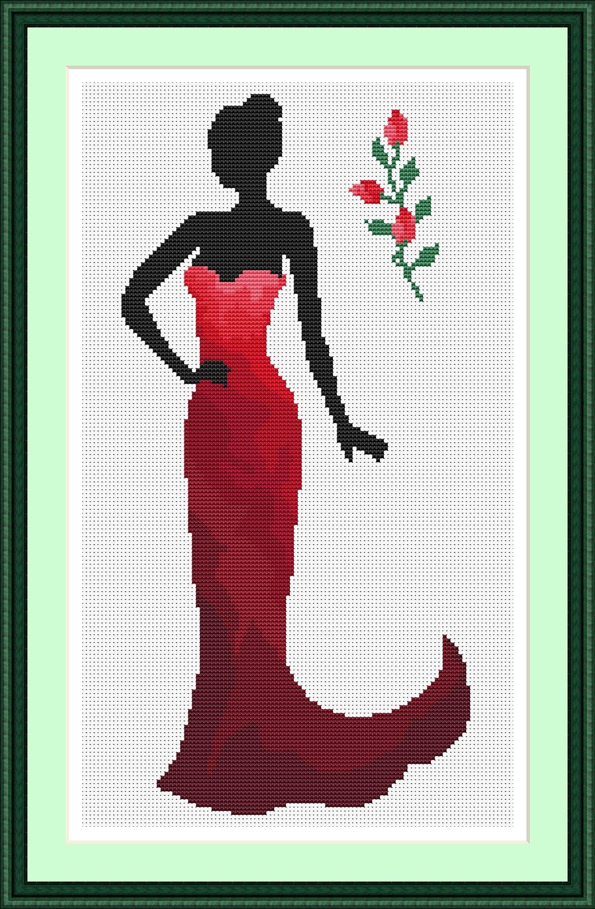 Lady In Red Cross Stitch Pattern Lady Design Beautiful