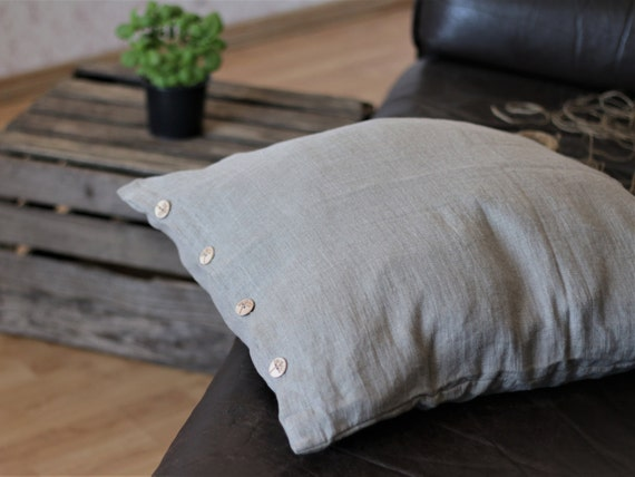 WHITE stone washed linen pillow covers with ruffles24 26 28 30flaxlinen housewares bedroom pillow cases