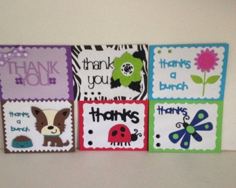 Assortment of handmade  5 1/8 by 3 3/4 THANK YOU cards with envelopes
