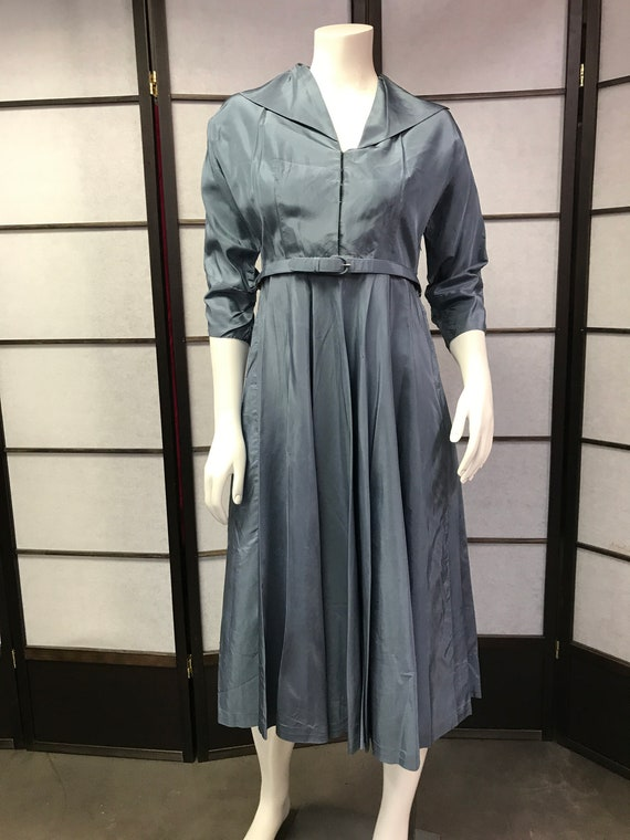 40s Vintage Lovely Blue Dress with Belt