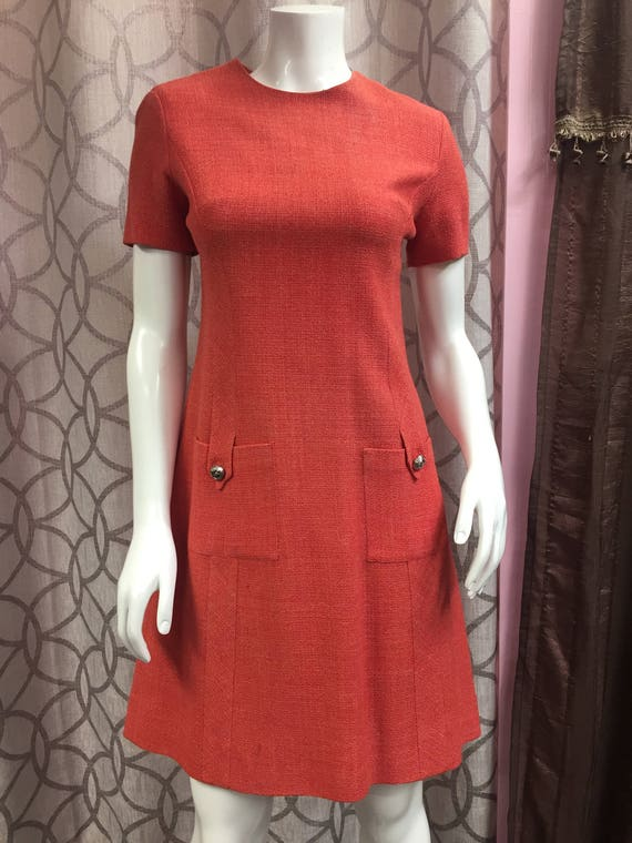 60s Vintage Beautiful Gay Gibson Orange Dress - Fr