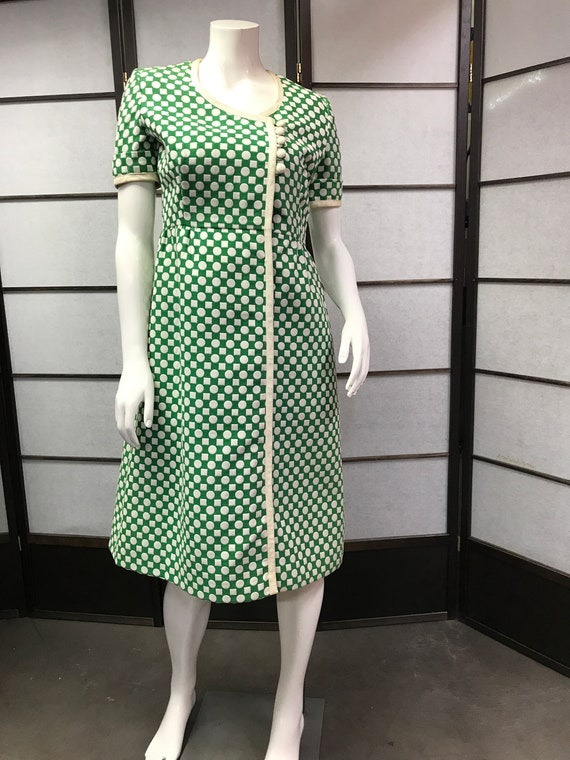 Traina Amazing Teal Dot Polka York Dress New 60s Vintage StqTgxwR4