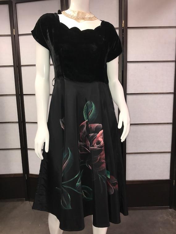 Vintage 40s Aldenaire Black painted Women's Dress.