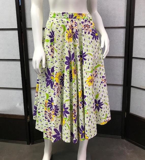 50s Vintage Beautiful Full Floral Skirt