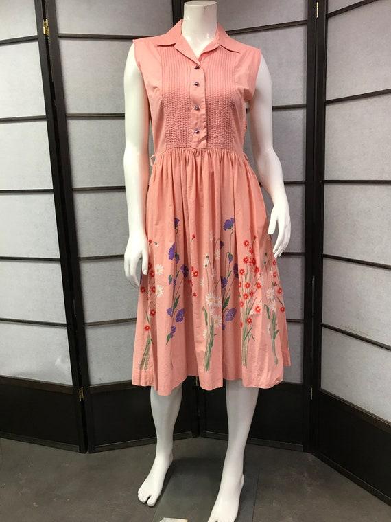 50s/60s Vintage Beautiful Pink Floral dress
