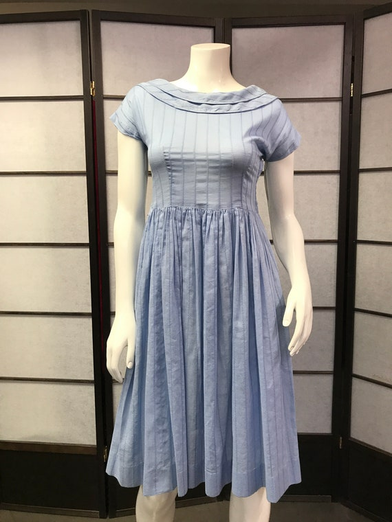 50s Vintage Lovely Petiteen Blue Dress
