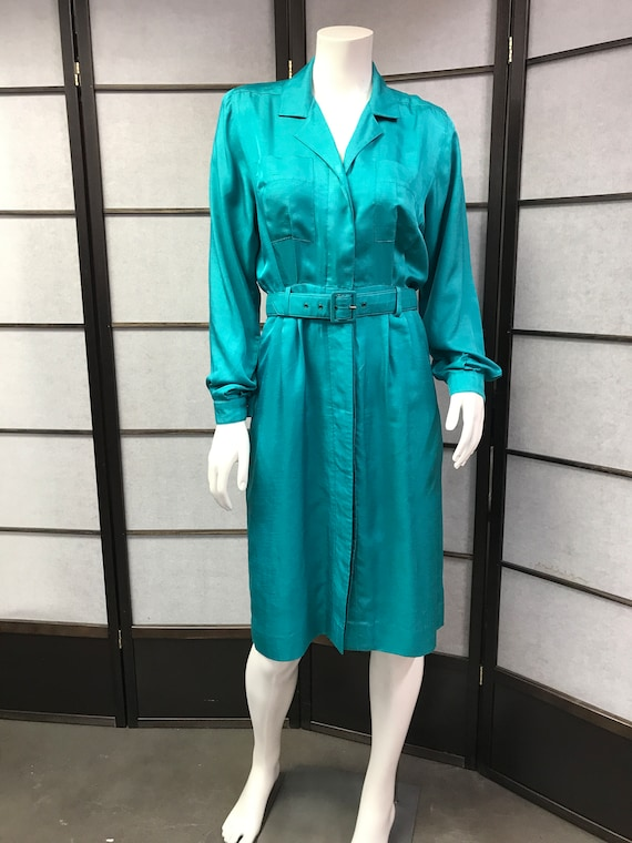 80s Vintage Leslie Fay Lovely Green Dress