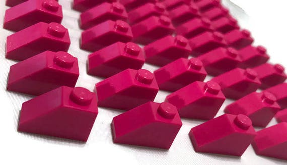 Roof Bricks 1x2 Dachstein Oblique Stones 3040 Bright Pink Lego 50 Piece Light Pink