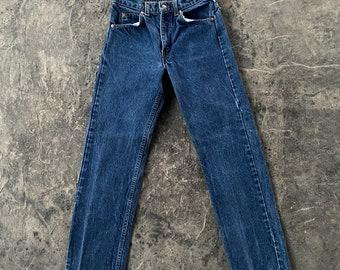 80s Levis Orange Tab 505 Straight Leg Dark Wash Jeans Small Blue Vintage 28 X 28.5