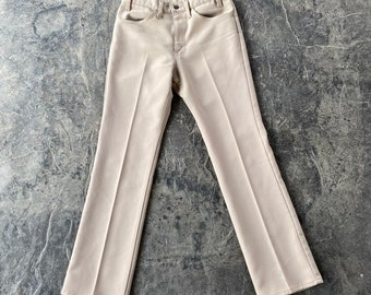 60s Levis Gold Tab 517 Bootcut Polyester Pants Tan Vintage 32 X 32